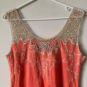Yoana Baraschi boho crochet eyelet lace coral top
